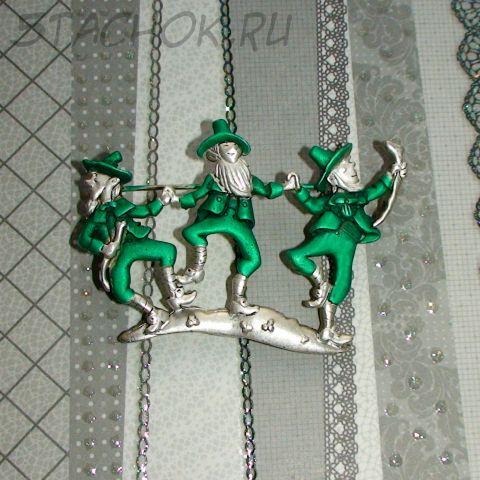 """Брошь """"Ирландские танцы"""" под серебро, эмаль"""