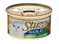 Stuzzy Gold консервы для кошек (кусочки сардин с кальмарами в собственном соку)