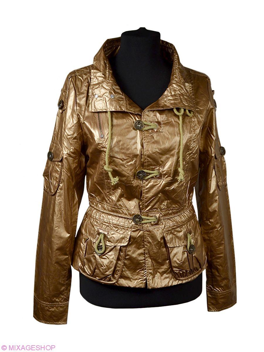 Ветровка золотистого цвета с накладными карманами