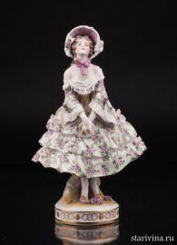 Девушка в платье с цветами, Volkstedt, Германия, до 1935 г., артикул 01393