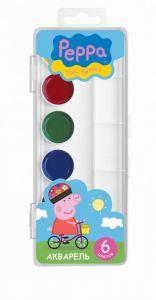 Акварельные краски 6 цветов Свинка Пеппа