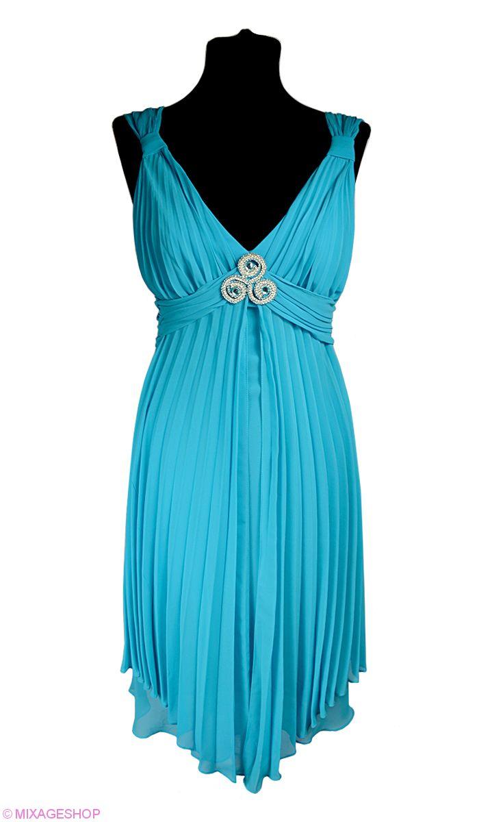 Шифоновое платье в греческом стиле с гофрированными вставками