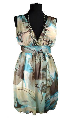 Шифоновое платье нежной расцветки с юбкой-баллон