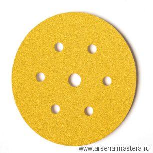 Шлифовальный круг на бумажной основе липучка  Mirka GOLD 150мм 6+1 отверстий P80 в комплекте 100шт.