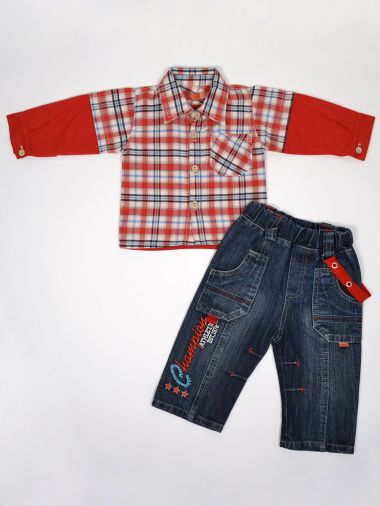 """Стильная рубашка в клетку с эффектом """"2 в 1"""" и потертые джинсы"""