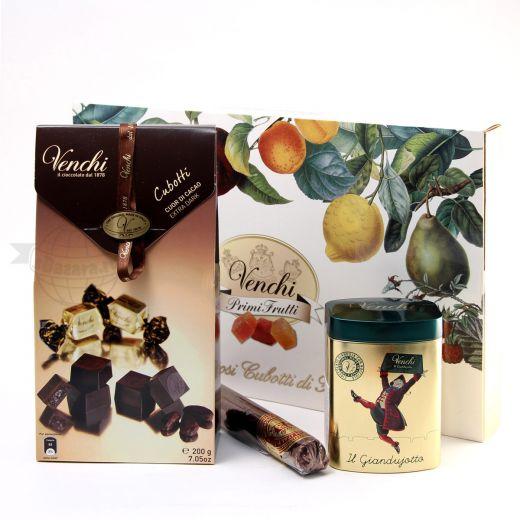 Подарочный набор шоколада и конфет Venchi Cubotti Frutti Giandujotto (Италия)