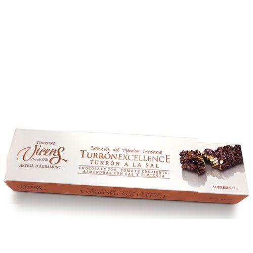 Туррон Vicens твёрдый с солью, красным перцем и вкусом томата в шоколаде - 250 г (Испания)