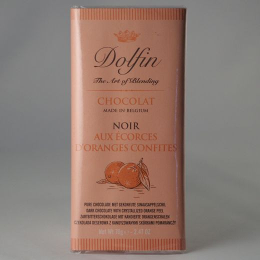 Шоколад Dolfin Горький с цедрой апельсина - 70 г (Бельгия)