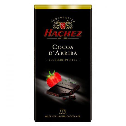 Шоколад Hachez с кусочками Клубники и зелёным перцем 77% - 100 г (Германия)