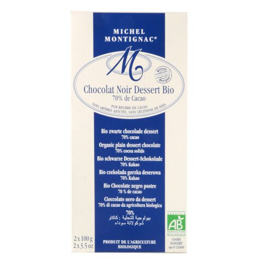 Шоколад Michel Montignac Чёрный десертный 70% какао без лецитина БИО 2х100g - 200 г (Франция)