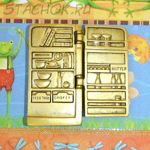 """Брошь """"Холодильник"""" под античное золото"""