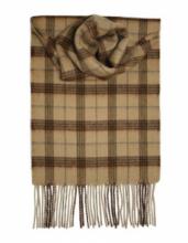 кашемировый шарф (100% драгоценный кашемир) , расцветка  Клетка Кэмэл Camel Check, плотность 7