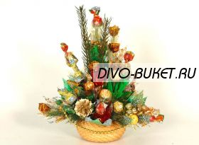 """Букет из конфет на Новый год №364 """"Ёлки-палки!"""""""