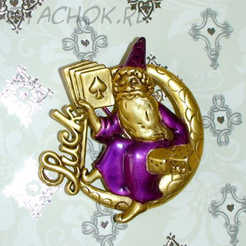 """Брошь """"Повелитель удачи"""" под античное золото, эмаль"""