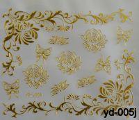 """Наклейка для дизайна ногтей на клеевой основе """"Золото"""", YD-005j"""