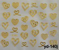 """Наклейка для дизайна ногтей на клеевой основе """"Золото"""", YD-140j"""