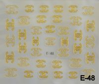 """Наклейка для дизайна ногтей на клеевой основе """"Золото"""", E-48"""