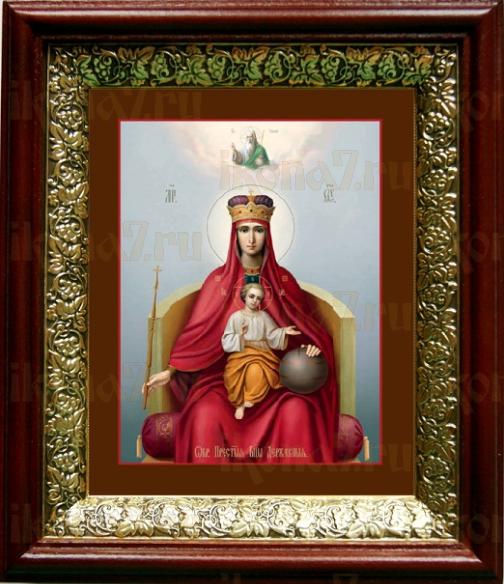 Державная икона БМ (19х22), темный киот