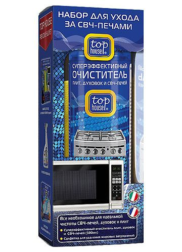 TOP HOUSE Набор для ухода за СВЧ-печами 2 пр. (очиститель 500 мл + салфетка)