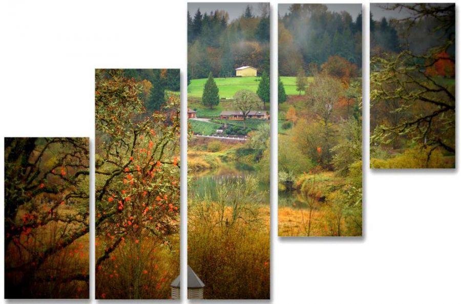 Модульная картина Лесная деревня