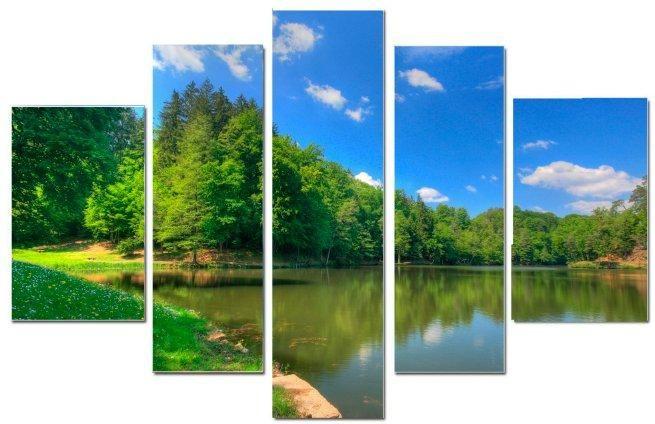 Модульная картина Лес и река
