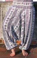 Белые женские штаны алладины с омчиками (символ Ом Аум), купить в интернет магазине