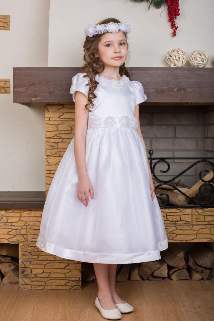 Нарядное белое платье с повязкой для девочки