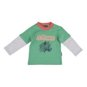 Майка для мальчика зеленая с серыми рукавами от Kogankids 012-123