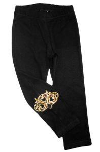 черные легинсы для девочки с вышивкой