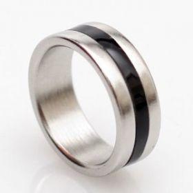 Магнитное кольцо серебро с полоской
