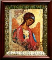 Михаил архангел (копия Рублева) (19х22), темный киот