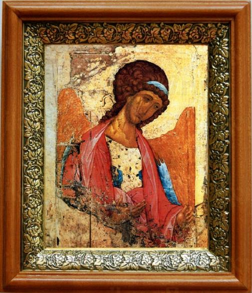 Михаил архангел (копия Рублева) (19х22), светлый киот