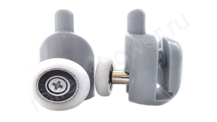Ролик для душевой кабины VH001 нижний с кнопкой (комплект 4шт) Диаметр колеса (от 18,6 до 28 мм)