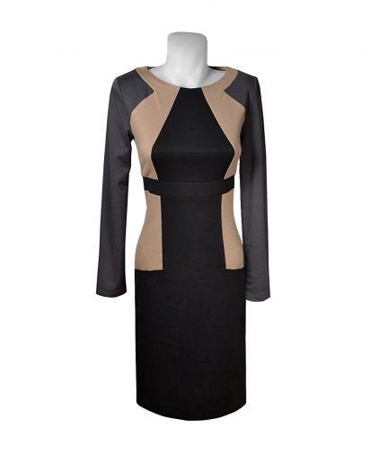 Трикотажное платье приталенного силуэта с длинным рукавом
