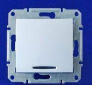 Двухполюсный выключатель одноклавишный с индикацией Sedna (белый)