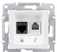 Розетка телефон+компьютер RJ11+RJ45,кат. 6,неэкр. UTP Sedna (белый)