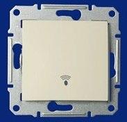 """Кнопочный выключатель IP44 с символом """"звонок"""" Sedna (белый)"""