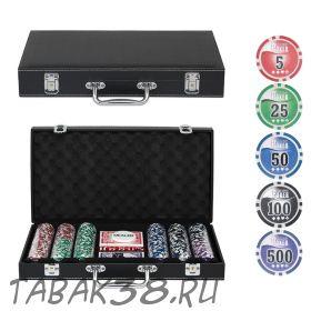 Покерный набор Leather Black 300 (фишки 11,5гр, кейс кожа)