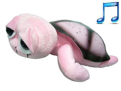 Ночник c MP3 Огонёк D-308 (черепаха звёздное небо) Розовая
