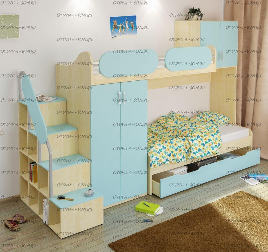 Кровать двухъярусная Teen`s Home 17.105.00 с лестницей
