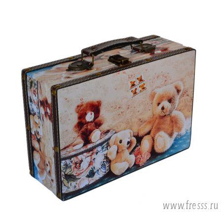 Шкатулка - чемоданчик с мишками подарочная (пустая)
