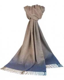 """Роскошный большой плотный шарф, 100 % драгоценный кашемир Омбрэ - """"Вечер"""" , Ombre Border Blue  (премиум), плотность 6"""