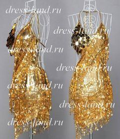 Золотое мини-платье, расшитое паетками
