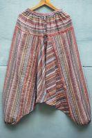 Индийские бежевые полосатые мужские штаны алладины