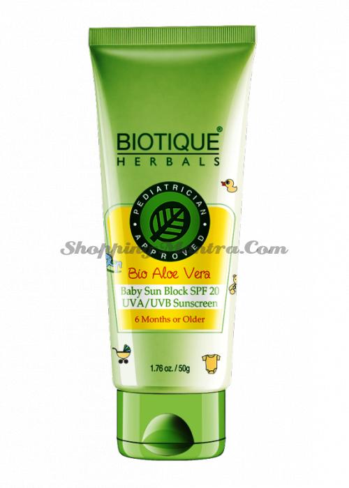 Солнцезащитный крем для детей от 6 месяцев Биотик Алое SPF20   Biotique Aloe Baby Sun Cream SPF20