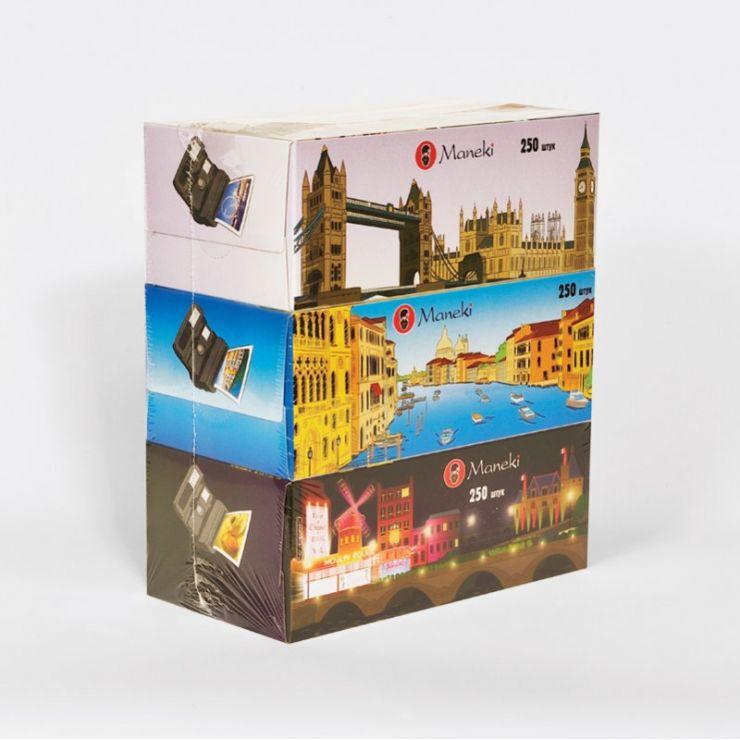Maneki Салфетки бумажные, серия Dream, с ароматом Европы, 2 слоя, белые, 250 шт./коробка