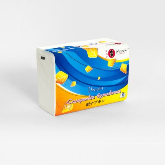 Maneki Салфетки бумажные, серия Dream 2 слоя, белые, 150 шт./упаковка