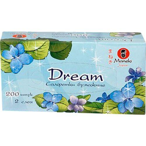 Maneki Салфетки бумажные, серия Dream 2 слоя, белые, 200 шт./коробка