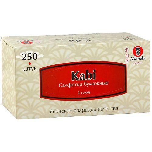 Maneki Салфетки бумажные, серия Kabi 2 слоя, белые, 250 шт./коробка