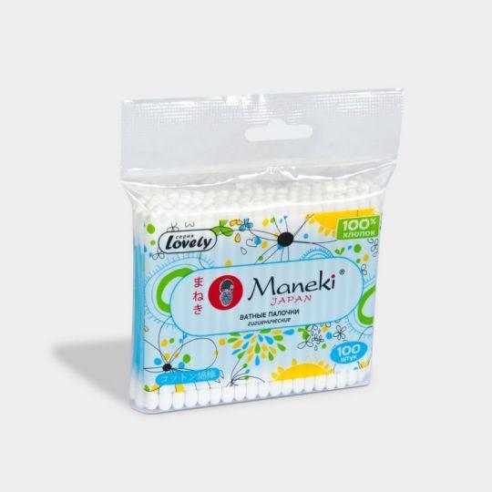 Maneki Палочки ватные гигиенические, серия Lovely, с голубым пластиковым стиком, в zip-пакете, 100 шт./упаковка